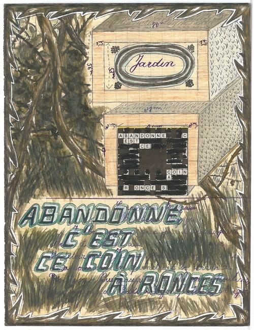 Alexandre Léger, Abandonné, 2016, collage, aquarelle et crayon sur page de cahier, 22 x 17 cm