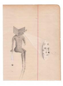 Geoffrey Badel, La boule zombie, 2017, Crayons, craie et collage sur papier, 19,5 x 16 cm