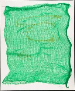 Hessie, [sans titre], 1968-70, collage d'un sac à pommes de terre vert sur papier blanc, 65 x 50,5 cm