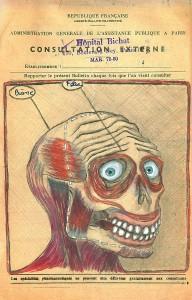 Alexandre Léger, Crâne-Face, 2017. Aquarelle et crayon sur papier, 13,5 x 21 cm