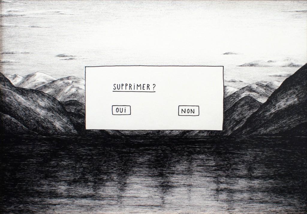 Vincent Broquaire, Entrée en dialogue, 2015, encre sur papier, 46 x 35 cm