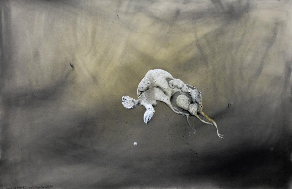 Lionel Sabatté, Quête brûlée, 2016, charbon, acrylique, épices sur carton, 80 x 120 cm
