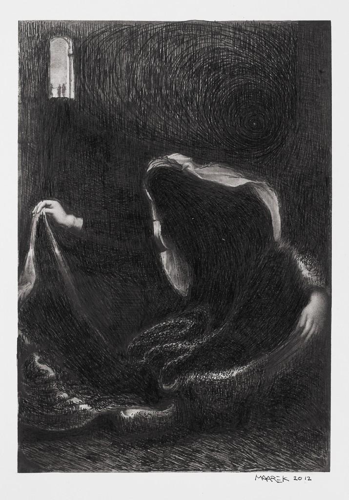 Odile Maarek, Sans titre, 2012, feutre pigmentaire sur papier 19 x 14 cm