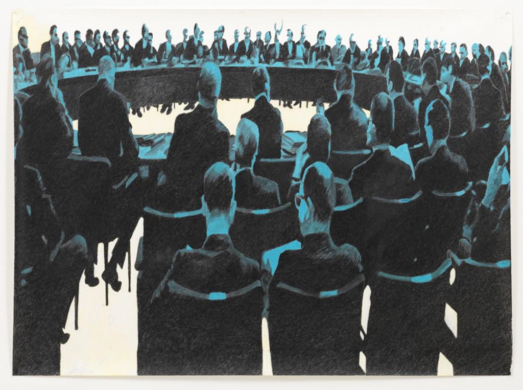 Natasja Van Kampen, Noordwijk, 2010 (conférence), crayons de couleur, pastel sur papier, 130 x 155 cm