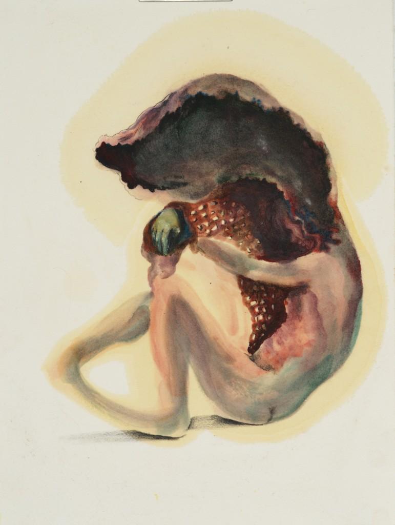 Sarah Jérôme, Underland #27 (Série Underland), 2018, crayons de couleur, graphite et huile sur papier, 38 x 27 cm