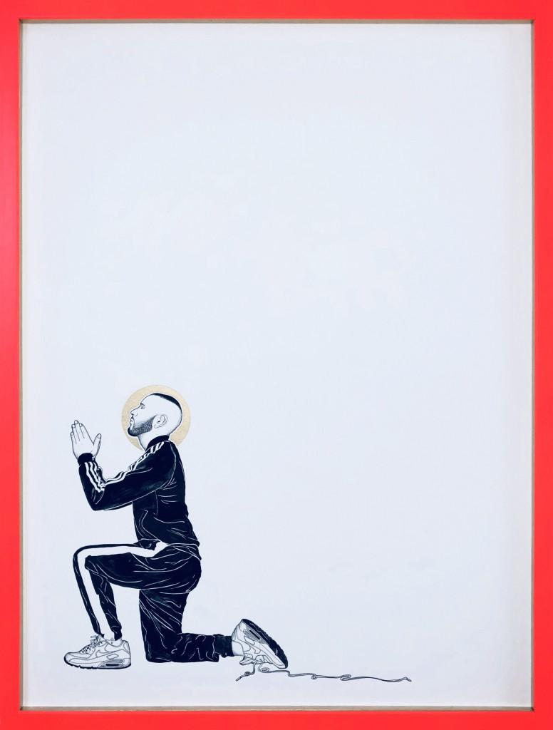 Julien Garnier, Sans titre (série Révélation), 2018, rotring, gouache, mine graphite, peinture dorée, 60 x 80 cm