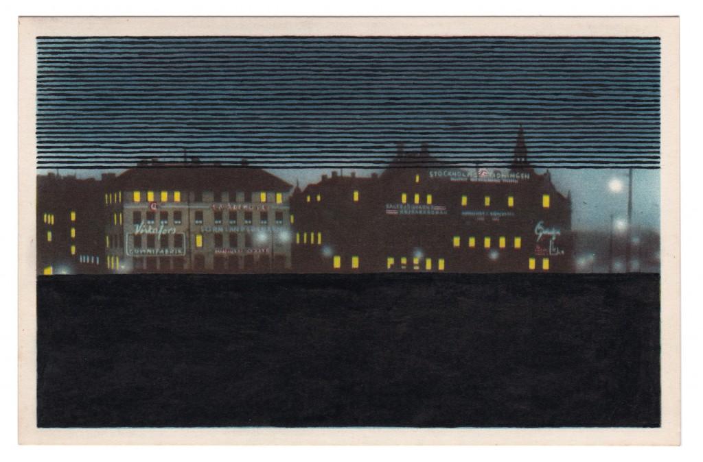 v6 jochen gerner old postcard 06 stockholm encre de chine noire sur carte postale 9x14cm - copie