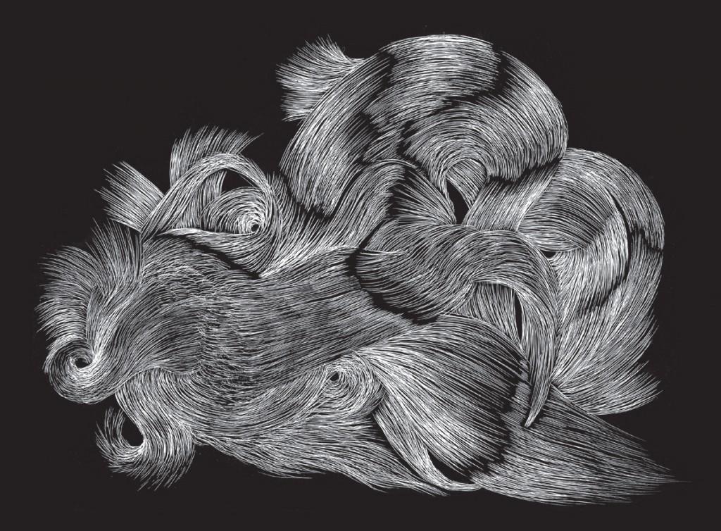 Ganaëlle Maury, Sans titre, 2016, carte à gratter, pointe sèche sur papier, 14 x 25 cm