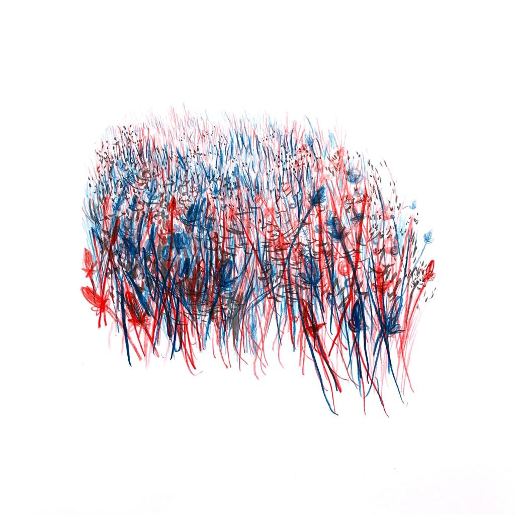 Sans titre, 2018, crayon de couleur et encre sur papier, 30x30 cm