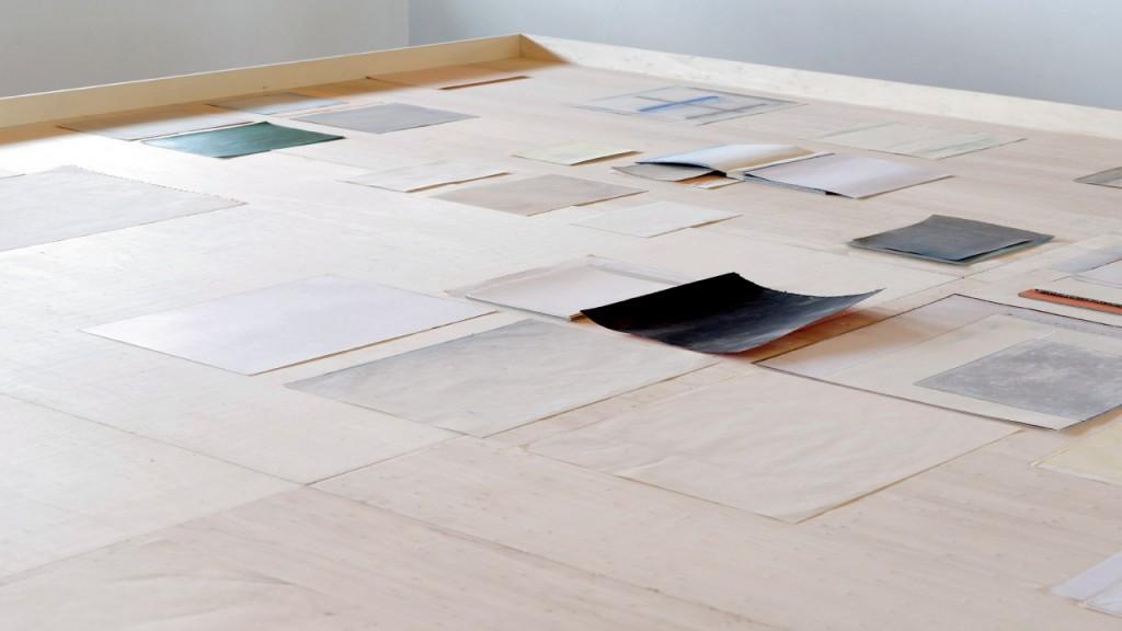 Mélanie Blaison, Sans titre (détail), 2007-2013,  papiers trouvés, technique mixte, formats variables - Installation pour Agir dans le paysage,  CIAP Vassivière 2013, © photo Aurélien Mole